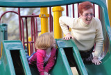 Grandmaw and Natalee on Slipper Slide