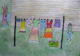 hanging clothes, Sarah Chen, age:7