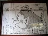 Cartoon on walls of the pub