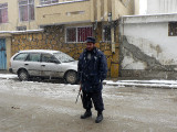 Security guard on the job in the snow 3 December, 2006