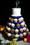 Blue cupcake tree with wedding cake topper. Photo by Cecilia Dumas