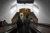 Down the escalator