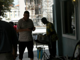 Steel drum player in the village.JPG