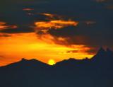 Dramatic sunrise over the Alps