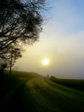 The sun is hidden at the end of the road...