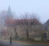 Walking to the village church...