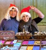 Merry vendors in seasonal mood