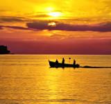 The fishermen leaves the port at sunrise...
