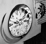Mad Cow Clock Face in Black and White