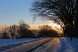 coucher de soleil sur la route des plaines