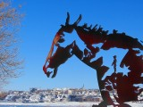 le cheval de Jos Fafard et la rive de Lévis