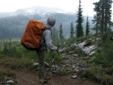 PCT thruhiker in Three Sisters