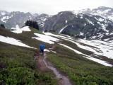 Descending Red Pass in Rain