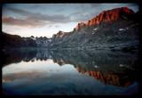 Mt Fremont reflection on Titcomb Basin Lake
