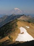Mount Rainier towers over the Goat Rocks