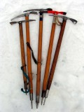 Vintage wooden ice axes