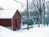 studio in the snow looking east towards Main Street