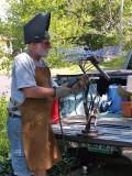 field repair in Phyllis's driveway