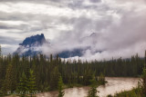 Castle Mountain and Bow River at flood stage