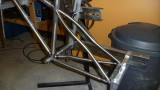 Seatstays in place and ready to tack weld