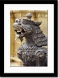 Brass Lion Statue at Swayambhunath Temple