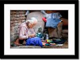 An Eldery Woman Knitting