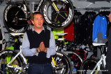 Chris Boardman at the bike factory Chester