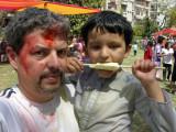Rahil and Dad, Holi 2011