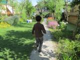 Rahil running on a Dal Lake island