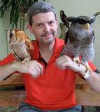 Dad with owls at the Kuala Lumpur Bird Park