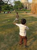 Playing cricket in Lodhi Garden