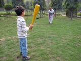 Playing baseball with Anna