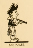 A caricature of George Hager from the 1911 book The Cartoon; A Reference Book of Seattle's Successful Men by a fellow member of