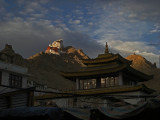Tsemo at sunset as seen from the main market in Leh
