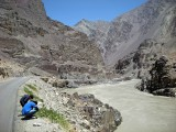 Examining plants along the Zanskar River
