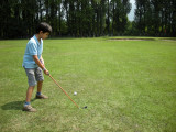 Fore!  Playing the first hole of Srinagar's Police Course