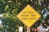Fire Trucks Entering When Signal Flashes