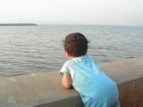 Taking in the view -- Rahil's first up-close visit to a sea