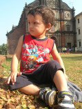 Resting in front of Bom Jesus Church in Old Goa