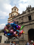 Balloons and church