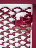 Snowy red fence