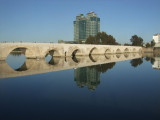 Another shot of the Roman Bridge and Hilton Hotel.  The bridge is almost 1800 years old.