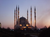 Night falls at the Merkez Cami mosque in Adana.
