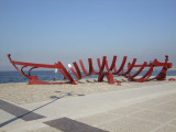 Izmir waterfront: sculpture of a boat.