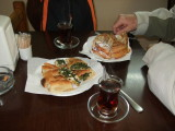We skipped breakfast at the hotel to try a pastry shop.  Spinach, cheese, meat, sesame, and hazelnut pastries...