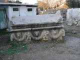 A sarcaphogus unearthed at Anazarbus,  It lays in a yard on the museum grounds.