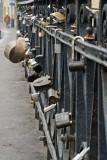 Wedding locks, bridge to Užupis