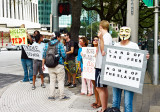 Occupy Houston protestors on Smith Street
