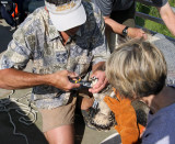 U.S. Fish and Wildlife band first on right leg