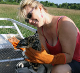 Tara holds the second chick